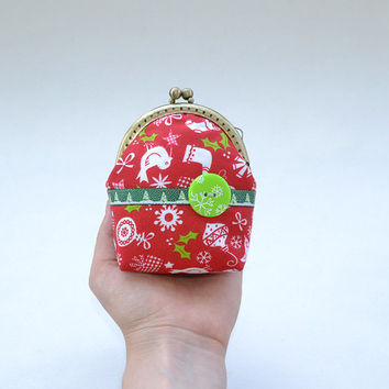 Red Christmas purse | Christmas tree frame coin purse | New Year gift | Red, green and white wallet | Holiday pouch