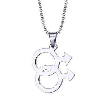 Stainless Steel Lesbian Pride Double Female Symbol LGBT Pendants & Necklaces Women Men 60cm Long One Direction Choker Jewelry