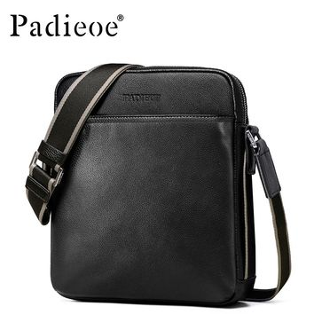 Padieoe High Quality Genuine Leather Handbags Man Fashion Designer Crossbody Bags Casual Cowhide Leather Messenger Bags for Man