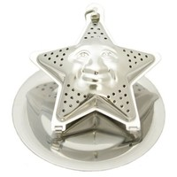 1 X Star Face Stainless Steel Tea Infuser with Drip Tray