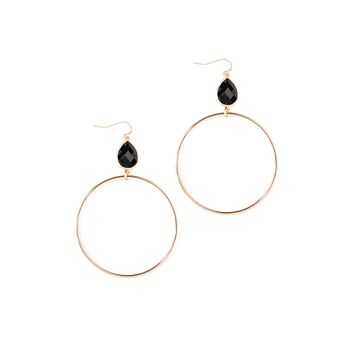 Faceted Gem Hoop Earrings