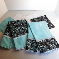 6 Piece Kitchen Gift Set Turquoise and Brown, 2 Kitchen Towels and 4 Dish Cloths