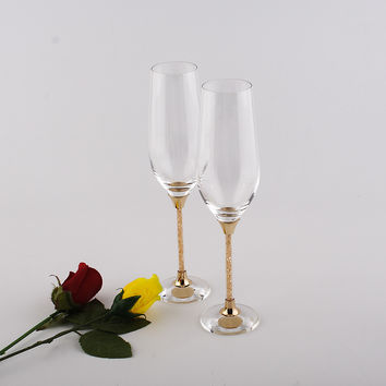 customed champagne flutes lead free wedding toasting wine glasses crystal goblet gifts drinking glasses set gold color stem