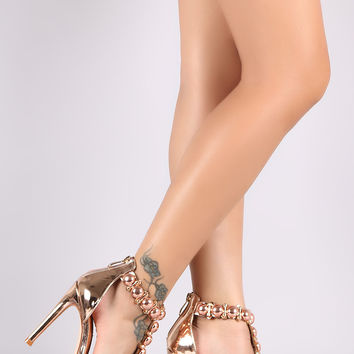 Stud Button T Strap Stiletto Heel