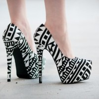 Bumper Elle-53 Tribal Print Pointy Toe Stiletto Heel - Shoes 4 U Las Vegas