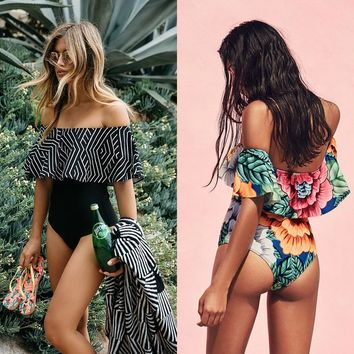 Ruffle Swimsuit Women 2019 One Piece Swimwear Female One-Piece Suits Bathing Suit Padded May Beachwear Swimming Suit For Women