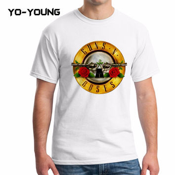 Yo-Young Men T Shirts Famous Rock Band Guns N Roses Printed 100% 180g Combed Cotton Top Tee camisetas Brand Quality Customized