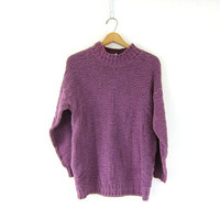 Vintage faded purple cotton sweater. Mock neck cotton knit pullover. long Textured preppy minimal slouchy jumper. Small