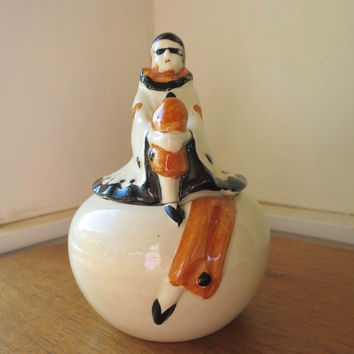 Vintage Vanity Jar Clown Top Art Deco Lady Masquerade Trinket Jar White Black Carmel Brown Japan Jar 1930's -40's
