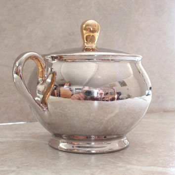 Sugar Bowl Hertel-Jacob Metallic Glaze Silver Gold Porcelain Vintage Estate 022814RI