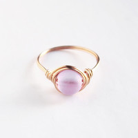 Brass Lavender Sea Glass Ring