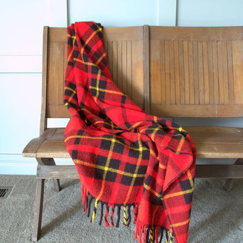 Vintage Wool Blanket, Tartan Throw Blanket, Red Plaid Throw, Faribo Wool Blanket,
