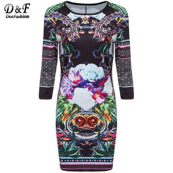2016 Retro New Arrival Casual Style Fashion Korean Brand Clothes Challis Long Sleeve Petals Flowery Floral Bodycon Dress