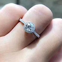 0.5 Carat Promise Ring/ Round Halo Engagement Ring, Dainty Delicate Ring, 0.5ct Man Made Diamond Center Stone Wedding Ring, Anniversary Gift