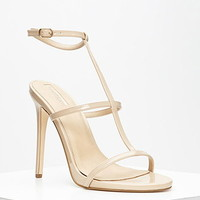 Faux Leather T-Strap Stiletto Sandals