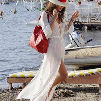 White Half Sleeve Chiffon Bikini Cover-up Maxi Dress