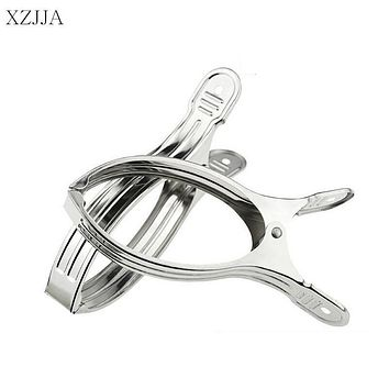 XZJJA 2Pcs Stainless Steel Clothes Pegs Big Size 16*2CM Beach Towel Clips Home Quilt Bed Sheet Clothespins Hanging Clothes Pins