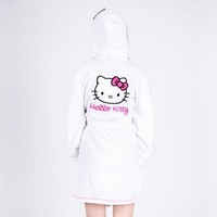 Hello Kitty Jrs Hooded Bathrobe: White