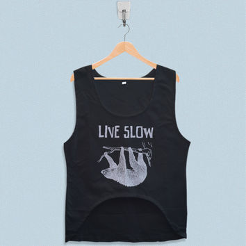 Women's Crop Tank - Sloth Hanging Live Slow Die Whenever