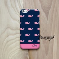 iPhone 5 Case, Monogram iPhone 5S Case Cute Pink Whale vineyard vines inspired Pattern, iPhone 4 Case, iPhone 3, iPod Touch Case