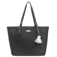 Jessica Simpson Womens Cynthia Faux Leather Quilted Tote Handbag