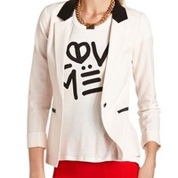PU Trim Pyramid Button Blazer