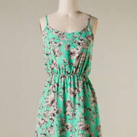 Hibiscus Print Sun Dress in Mint