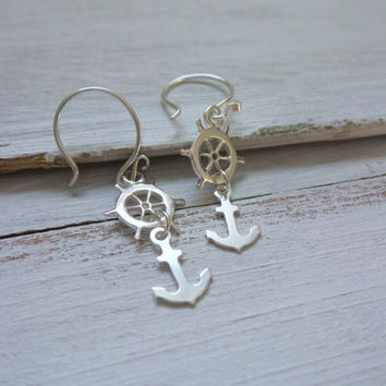 Ship Wheel Anchor Earrings by SBC, Sterling Silver Ship Wheel, Tiny Sterling Silver Anchor, Sailor Jewelry, Lost at Sea, Minimalist Earrings