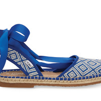 TOMS Blue Woven Diamond Women's Bella Espadrille Blue