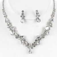 """12"""" silver crystal choker necklace bridal prom 1"""" earrings prom bridal"""