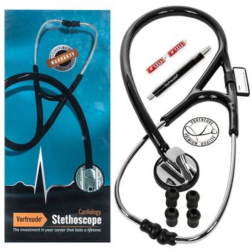 """Vorfreude Cardiology Stethoscope Lifetime Replacement Guarantee (27"""" Black) Bonus: Name Tag, Classic Pupil Pen Light, Batteries, Spare Diaphragm and 6 Eartips. Total Qty 1"""