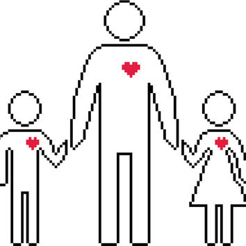 Father's Day cross stitch pattern. Contemporary simple silhouette of a dad and his kids. Modern  cross stitch design.