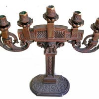 Pair 1915 Art Deco Bronze Candelabra, Deco Lamp, Candle Holders, Lighting Two Candlesticks