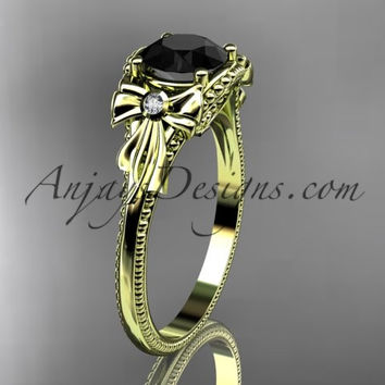 14k yellow gold leaf and flower diamond unique engagement ring with a Black Diamonde center stone ADLR376