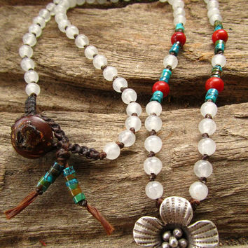 Karen Hill Tribe Silver Flower with Real Turquoise Red Coral White Quartz Necklace / Meditation Positive Energy Healing Yoga Gypsy Necklace