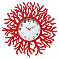 Red Coral Reef Modern Wall Clock Ocean Beach Theme - 22-inch Diameter