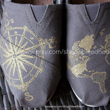 Adult - Travel Compass and World Map in Gray and Gold - Custom Painted TOMS Shoes