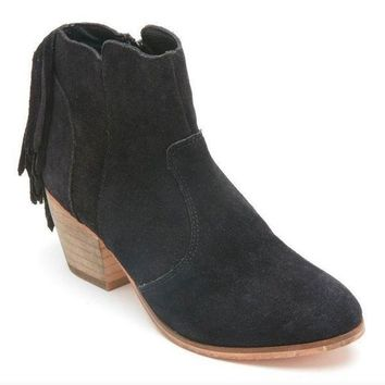 ICIKAB3 Coconuts by Matisse Espana Black Suede Fringed Booties