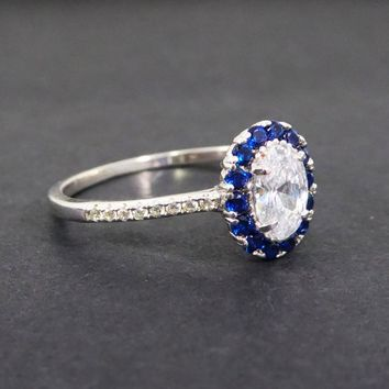 Petite Blue Sapphire & CZ Ring, Marked 925 Sterling Silver Princess style Size 10 Oval Shaped Vintage 1990s September Birthstone Jewelry