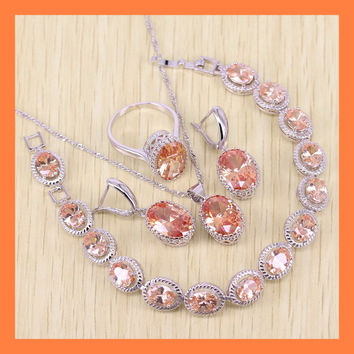 Sparkling Orange Morganite Bracelets Jewelry Sets For Women Angelic 925 Sterling Silver Earrings/Ring/Necklace/Pendant