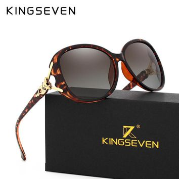 KINGSEVEN HD Sunglasses Polarized Retro Big frame Fox luxury Eyewear Lady Brand Designer Sun glasses Oculos de sol
