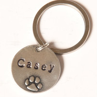 Personalized Dog Name Keychain - Silver - Dog Owner Gifts - Dog Remembrance Gifts
