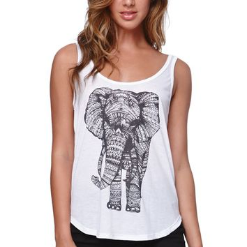 Billabong Elephant Scoop Tank - Womens Tee - White -