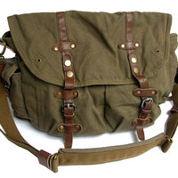 Vintage Green Canvas Messenger Bag