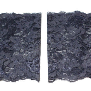 Dark Grey Wide Floral Scalloped Stretch Lace Peek a Boo Boot Cuffs Lacey Boot Cuffs