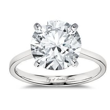 A Perfect 14K White Gold Cathedral 4CT Round Cut Solitaire Russian Lab Diamond Ring
