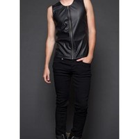 Lip Service Black Matte Vegi Zipper Top Shirt