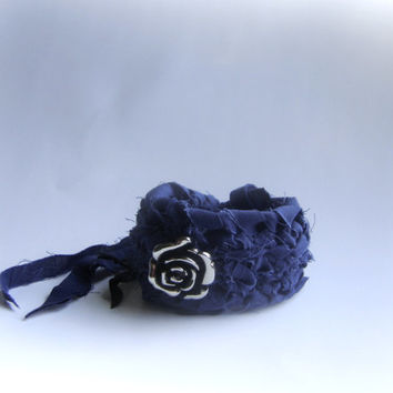 bracelet wrap blue gypsy boho bohemian single rose silver color flower fabric wrapped handmade bracelet crochet eco friendly prom gift chic