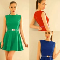 Chic Crew Neck Sleeveless Pleated Women Fashion Mini Dress Sundress Solid Belt