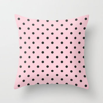 Polka Party Blush Throw Pillow by Shawn Terry King